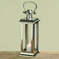 Laterne Windlicht Glaseinsatz 42 cm Alu vernickelt silber antik Look Geschenk