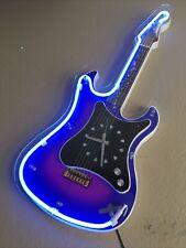Teltime Neon Light Up Guitar Clock WORKS