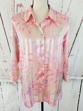 BonWorth Button Down Shirt Women's Sz M Petite Pink Floral Sheer Top Blouse