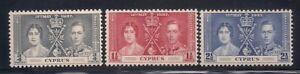 Cyprus   1937   Sc #140-42   Coronation   MLH   OG   (5013-)