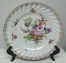 Antique Dresden Hand Painted Porcelain Plate, Florals Cnter Wreathen Gilt Rim