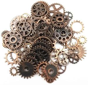 70Pcs Copper Assorted Steampunk Antique Gears Skeleton Clock Watch Gear Crafts