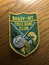 Vintage Lot Of Bailey Mountain Fish & Game Club Patch And Pin Indian Headdress