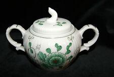August Warnecke Porzellan Nikko grün Handmalerei Zuckerdose mit Deckel Vintage