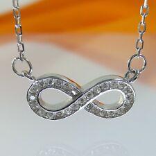 A597 Unendlichkeit Infinity Kette Collier 925 Sterling Silber Schmuck Rhodiniert