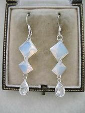 Fab Opalite Moonstone, Silver & Sparkling CZ Tear Drop Earrings