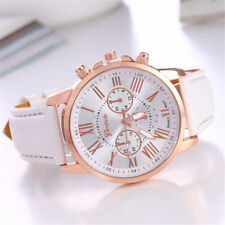 Fashion Geneva Women Gift Leather Band Stainless Steel Quartz Analog Wrist Watch