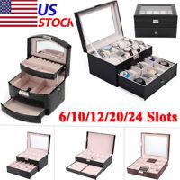 6 10 12 20 Slots Leather Watch Box Display Glass Jewelry Case Organizer Storage