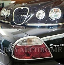 DELUXE COMBO Set Head & Tail Light Trims for JAGUAR S-Type 04-08 LCI CHROME