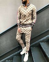 Men Tracksuit 2 Piece Casual Pants Jacket Sweatsuit Hip Hop Sweatshirt Set
