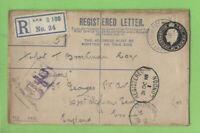G.B. 1918 KGV 2d registered censored Env. with APO S100 (Taranto, Italy) cancel