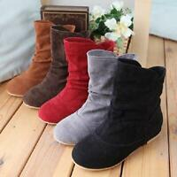 Womens round toe flat Faux Suede Slouch Pull On ankle boots 5 Color