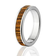 Bocote Inlay in Titanium Ring, Exotic Hard Wood Wedding Band , Wood rings