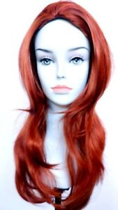 "24"" Long Straight Wig w/Skin top, No Bangs, Layered Sides & Back, Slightly Wavy"