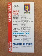 Premier League Aston Villa Football Trading Cards Season 1996