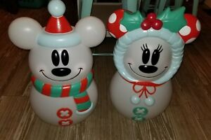 Mickey and Minnie Mouse Disney Blow Mold Snowman Lighted Christmas Lowes NEW!