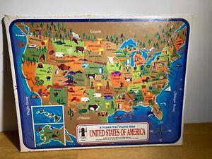 VTG NEW Sealed 1968 Rainbow Works United States of America Frame-Tray Puzzle Map