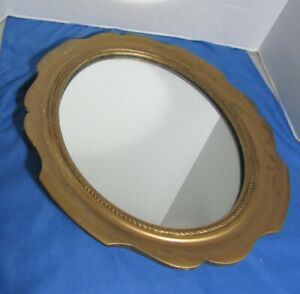 Vintage gold oval wall mirror wood with gold paint 17 x 14""