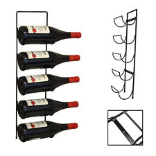 5 Bottle Wall Mounted Black Metal Wine Rack Storage Holder