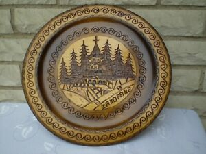 Poland *ZAKOPANE* Folk Art Wood Carving w. Brass Wire Inlay ~Vintage ~ Excellent
