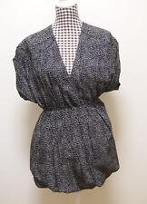 FRENCH CONNECTION DRESS BLACK WHITE MINI WRAP DRESS, Sz 10