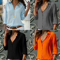 UK Women's Chiffon Casual Button Down Shirt Blouse Long Sleeve V Neck Tops