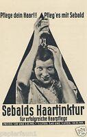 Sebald Haartinkur Hildesheim Reklame von 1932 Shampoo Haare Dame Tintur ad