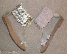 PRIMARK REAL LEATHER GOLD PINK NUDE FLAT GLADIATOR SANDALS SHOESSIZE 3 - 8 NEW