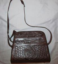 vintage 60's Mexico Corvi tooled raised floral aztec calendar shoulder bag