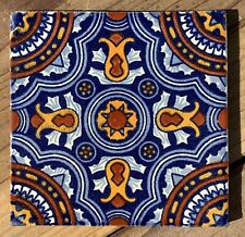 "10~Talavera Mexican pottery 4"" tile classic Royal VI Cobalt Blue gold white"