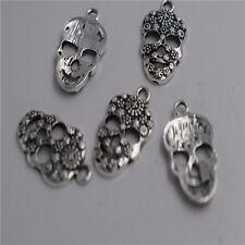 10pcs Antique silver skull mask charm pendants F0094