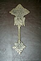 "Antique Ethiopian Brass 11"" Tall Hand Held Coptic Priests Cross"