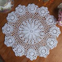 Vintage Floral Hand Crochet Cotton Lace Doily Round Flower Table Placemat Mat US