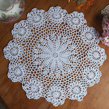 15'' White Handmade Crochet Cotton Lace Table Mat Coaster Placemat Doilies Decor
