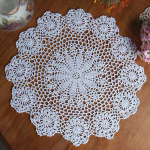 Vintage Handmade Crochet Doilies Round Table Mats Snowflake Placemat Doily Pad S