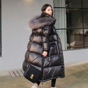 Winter Daunen Jacke langer Mantel Daunenjacke Daunenmantel Kapuze Echtfell QC25