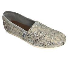 Toms Womens Classic Silver Lace Glitz Flat Casual Shoe Size 5