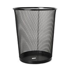 Office Paper Mesh Waste Basket Bin Trash Rubbish Garbage Can Metal Round Storage