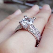 Pink Sapphire Round White Cz Sz 9 Newshe Wedding Engagement Ring Set White Gold