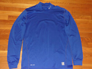 NIKE PRO LONG SLEEVE BLUE MOCK FITTED JERSEY MENS XL NICE CONDITION