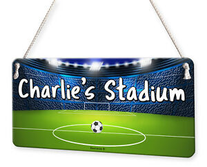 Football Stadium Personalised Childs Bedroom Door Sign Name Plaque