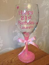 Personalised Glitter Wine Glass - Birthday  18th  21st  40th  50th 60th