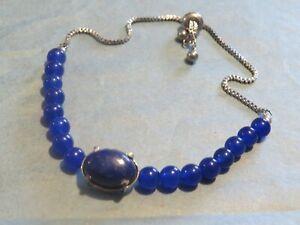 JEWELLERY PULL THREAD ROYAL BLUE GEMSTONE BRACELET 11G