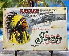 VINTAGE 1958 SAVAGE RIFELS AND AMMO HEAVY PORCELAIN SIGN 12