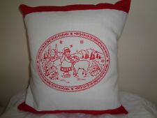 """**NEW HANDCRAFTED  NOVELTY 14"""" MACHINE EMBROIDERED REDWORK CUSHION, CHRISTMAS"""