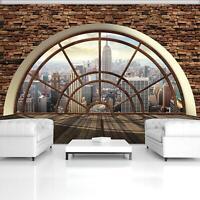Vlies Fototapete STEINWAND 3D New York Mauer Ausblick Fenster Mauer Optik XXL