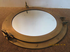 GIANT, HEAVY SOLID BRASS PORTHOLE WALL MIRROR