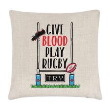 Sangue dare giocare a Rugby Lino Copricuscino Cuscino-Divertente League Union Sport