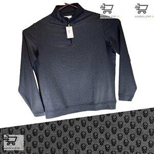 PETER MILLAR Stretch Pullover 1/4 Zip Golf Sweater MEDIUM ⛳️ BLACK Skull Swag