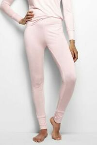 LAND'S END Women's Thermaskin Heat Base Layer Pants Pale Pink SIZE LARGE